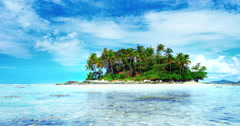 Crystal clear water of tropical sea and small island with coconut palm trees - stock footage