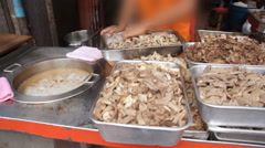 Food stall on street in Bangkok Stock Footage