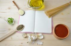 Spaghetti Ingredients and Notebook - stock photo
