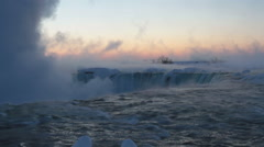 Niagara Falls at Daybreak in Winter with Sound Stock Footage