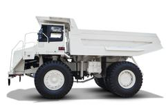 Mining truck isolated on white background - stock photo