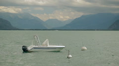 Lake Geneva. A boat is reeling on the water Stock Footage