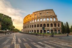 Sunrise at Colosseum , Rome , Italy - stock photo