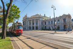 Tram and Burgtheater , Vienna , Austria Stock Photos