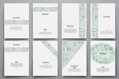Corporate identity vector templates set with doodles Dubai theme Piirros
