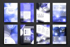 Set of brochure, poster design templates in neon molecule structure style - stock illustration