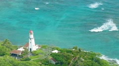 Drone Footage Lighthouse Sea Aerial Tower Turquoise Nature Beach Travel Water Stock Footage