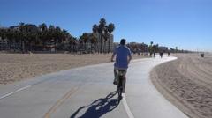 Biking in Santa Monica POV   Stock Footage