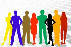 Colorful young people - stock illustration