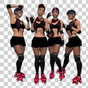 Roller Derby Team With Alpha Channel - stock illustration