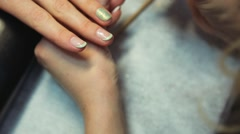 Delicate french manicure Stock Footage