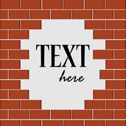 Broken brick wall. An empty white space ready for your text. Vector illustrat Stock Illustration