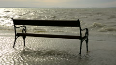 Bench at Lake Balaton in stormy wind, Hungary Stock Footage