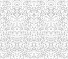 Seamless white 3D pattern, arabic motif,  east ornament Stock Illustration