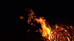Fire flame on black background - stock footage