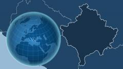 Kosovo and Globe. Solids Stock Footage