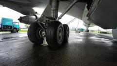 Close up of main landing gear undercarriage under fuselage of airplane 4k Stock Footage