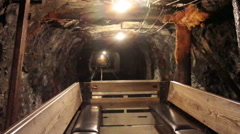 Interior of anthracite coal mine taken from a working coal car Stock Footage