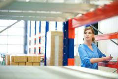 Business woman inspector doing inventory in a warehouse - stock photo