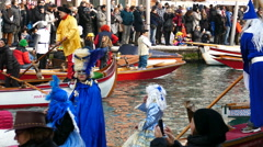 VENICE, ITALY - JANUARY 24, 2016: Carnival procession on the Cannaregio Canal Stock Footage