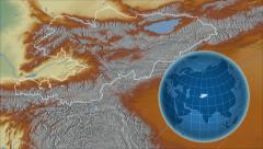 Kyrgyzstan and Globe. Relief - stock footage