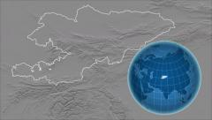 Kyrgyzstan and Globe. Bumps - stock footage