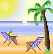 a sunny beach with a bright sun and a beautiful palm tree - stock illustration