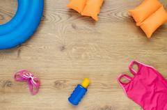 Little girl's beach accessories - stock photo
