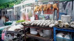 Street food stall in Bangkok Stock Footage