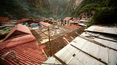 village of aguas calientes (Machu Picchu city) in the rainforest of Peru - stock footage