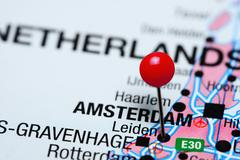 Leiden pinned on a map of Netherlands Stock Photos