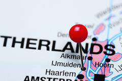 Ijmuiden pinned on a map of Netherlands - stock photo