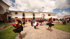 Traditional procession Andes of Peru Stock Footage