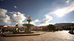 Cuzco-2014-Plaza-Brunnen-Tag-01-red Stock Footage