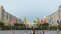 A square in front of Ak Orda with Altyn Orda business center timelapse  in the Stock Footage