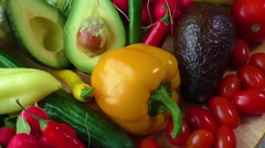 Still life with various fresh organic vegetables Stock Footage