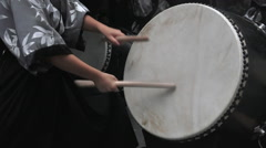 Taiko drumming on Japanese drums Stock Footage