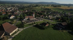 Aerial View of houses and farmland, Great French Southeast Stock Footage