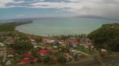 Aerial View of village near sea in Sainte-Anne - stock footage
