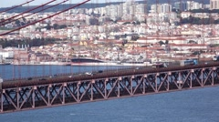 Close Up View on the 25 de Abril Bridge in Lisbon Stock Footage