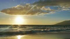 Bright Beach Sunset Island Beautiful Sea Sky Golden Sunlight Nature Idyllic Stock Footage