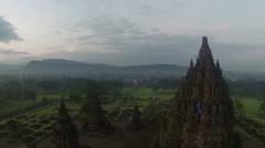 Aerial View of Candi Prambanan in Yogyakarta, Indonesia Stock Footage