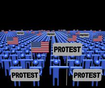 Crowd of people with protest signs and American flags illustration Stock Illustration