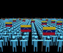 Crowd of abstract people with many Venezuelan flags illustration Stock Illustration