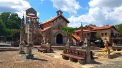 Old church in a middleage town near altos de chavon, in la romana, domenican  Stock Footage