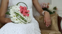 The bride with a wedding bouquet - stock footage