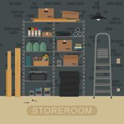 Storeroom interior with brickwall. Piirros