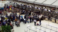 Crowd at Airport Check In Counter Hall Stock Footage