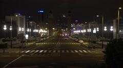 4K Venetian Tower empty avenue Placa Espanya Barcelona landmark night emblem  Stock Footage