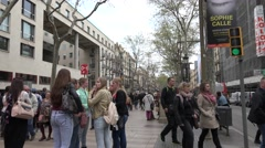 4K Crowded Rambla street pedestrian people Barcelona landmark tourism attraction - stock footage